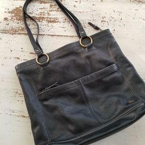 The Sak Large Black Leather Tote Shoulder Bag